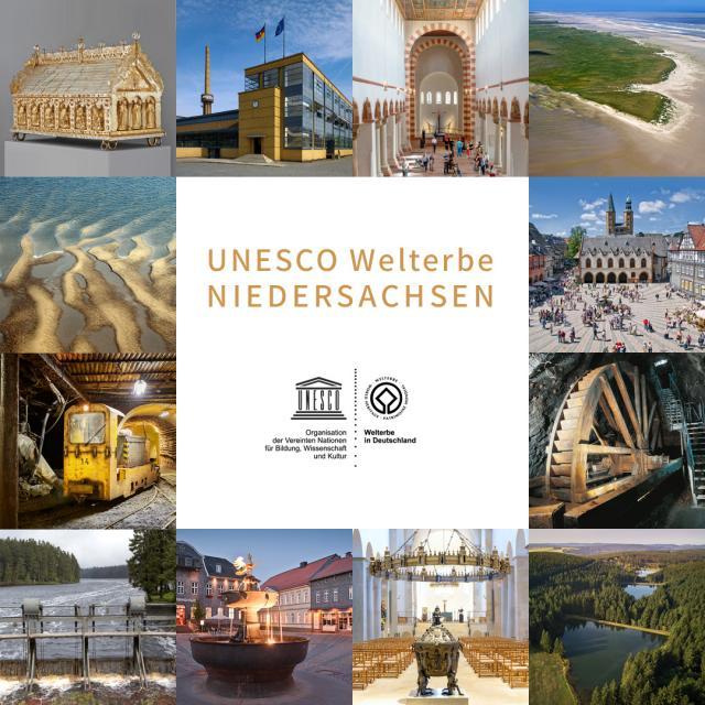 Collage mit Bildern von allen Welterbestätten in Niedersachsen
